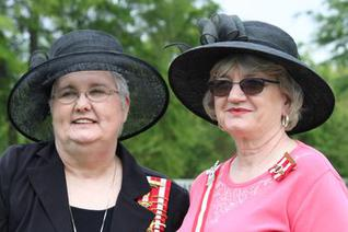 Sandra Gaddis and Janice Strohm at Confederate Memorial Svc, Marion MS, April 2015