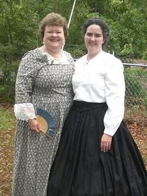 Vivian Dailey and Anna Walters March 2015 cemetery dedication with Live Oak Rifles Camp
