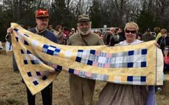 Quilt made by Kay Nelson of John J. Hart Chapter presented to Reenactor in Okolona MS Feb 2015 by Chapter President Pat Hass